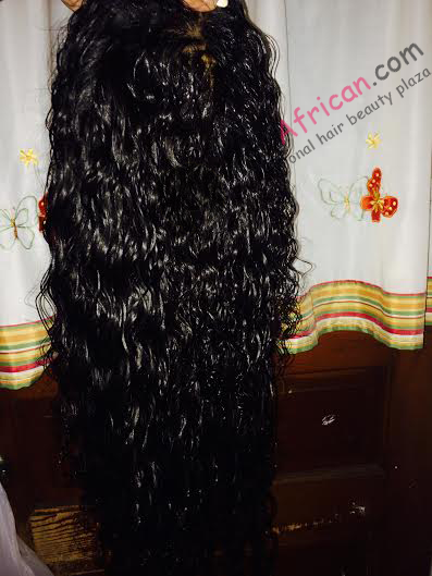 This is a custom wig I had made with this hair...this is what it looks like after being Cowashed