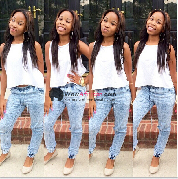 Natural Color Yaki Straight Brazilian Virgin Clip In Hair Extensions[CPB02]