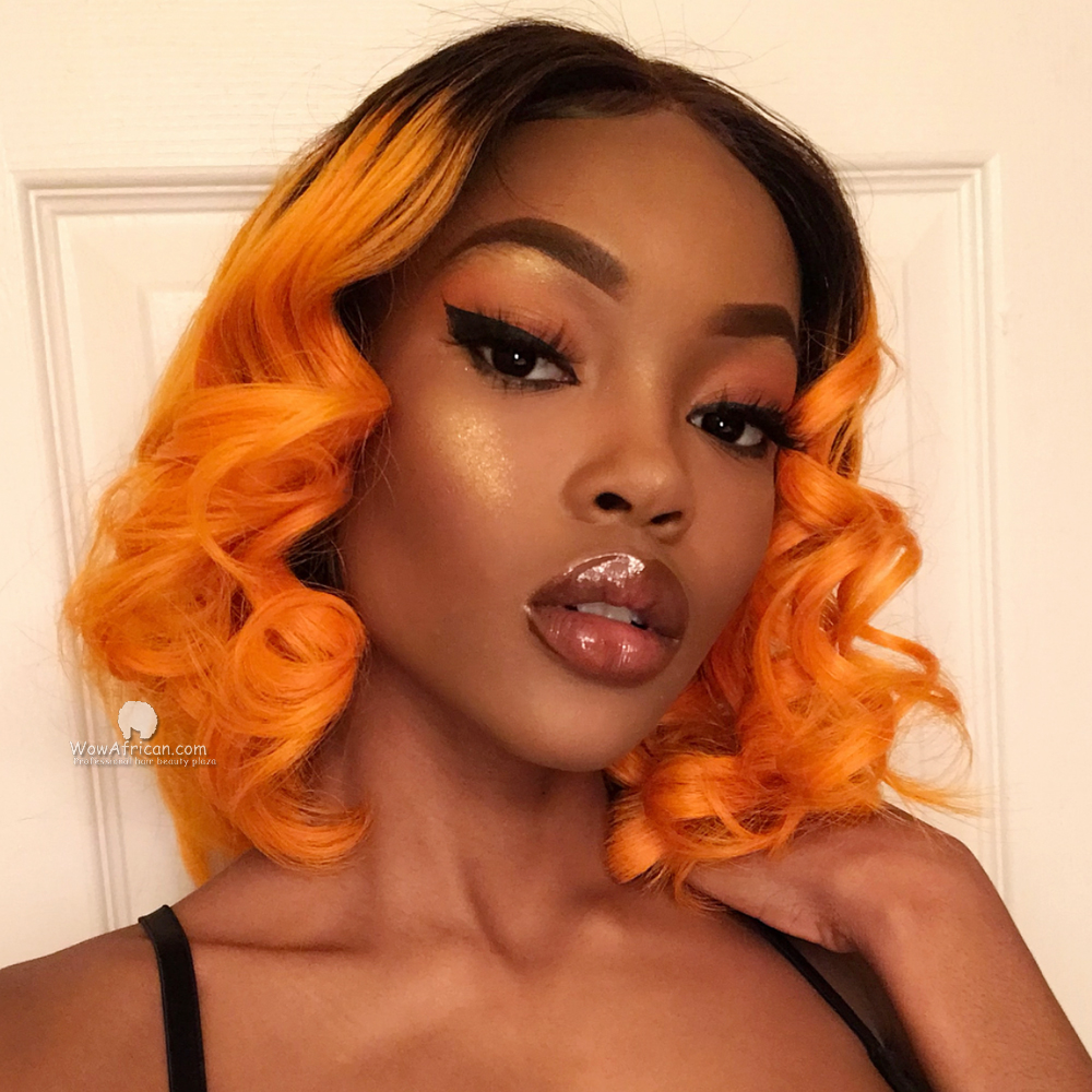 Omber Orange Virgin Brazilian Hair Bob Lace Front Wig