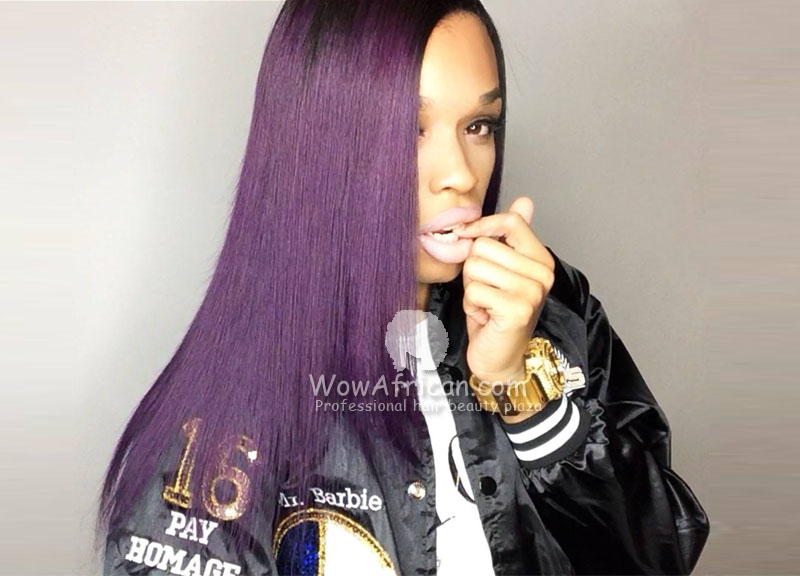 Purple Ombre Color 16in Brazilian Virgin Straight Lace Front Wig