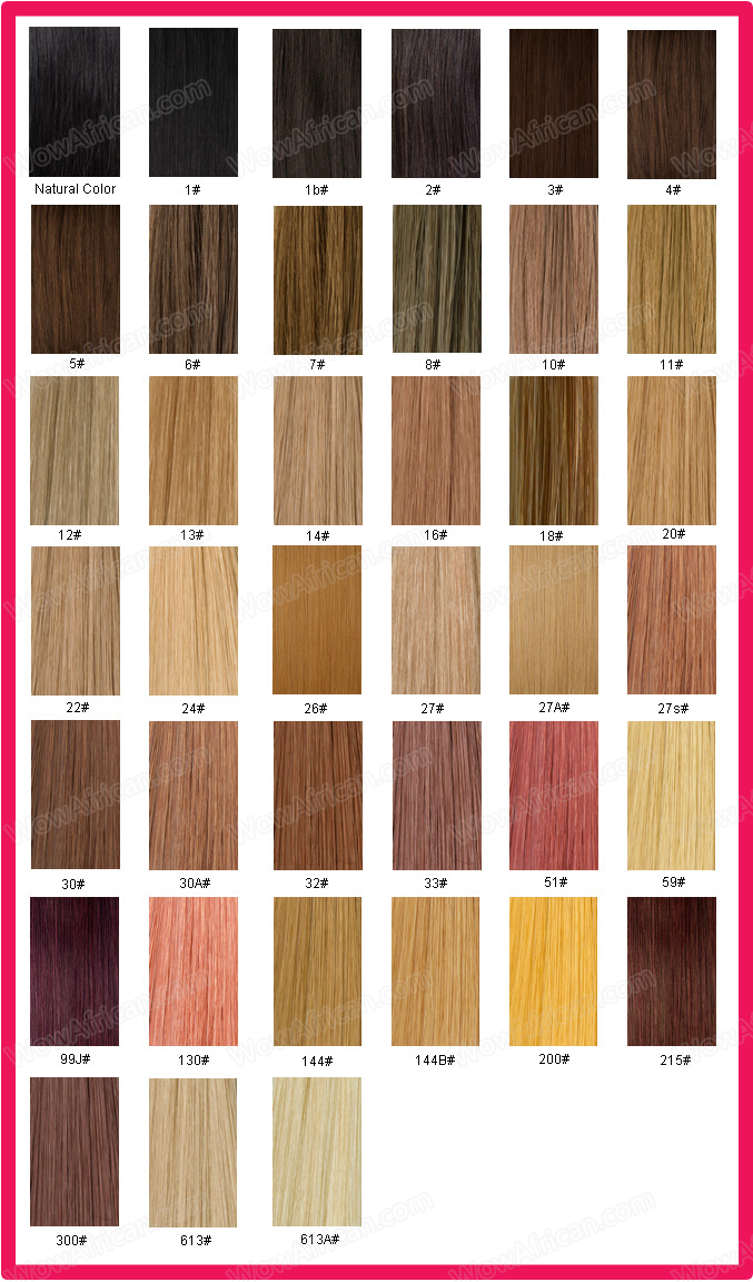 Color Chart Brazilian Virgin Hair Weave Clip In Hair Extensions